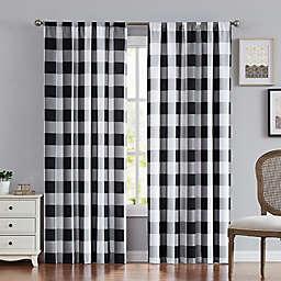 Truly Soft® Buffalo Plaid 2-Pack 84-Inch Rod Pocket Window Curtain Panels in Black