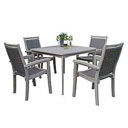 Outdoor Interiors® 5-Piece Eucalyptus and Wicker Outdoor Dining Set in Grey