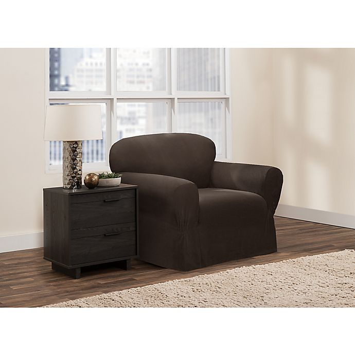 Alternate image 1 for Zenna Home Smart Fit Stretch Suede Chair Slipcover