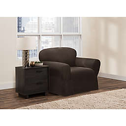 Zenna Home Smart Fit Stretch Suede Chair Slipcover in Chocolate