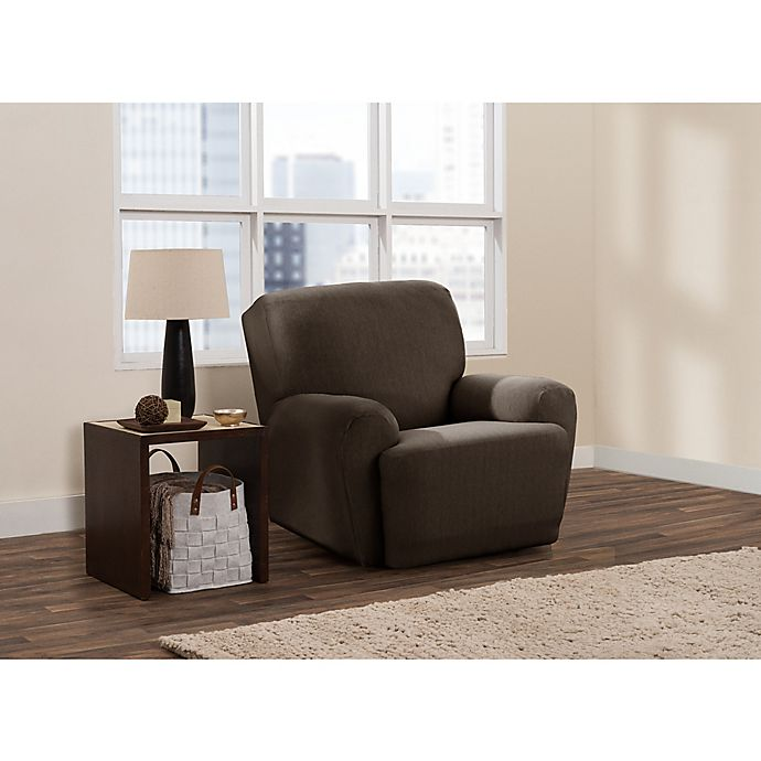 Alternate image 1 for Zenna Home Smart Fit Stretch Suede 4-Piece Recliner Slipcover in Chocolate