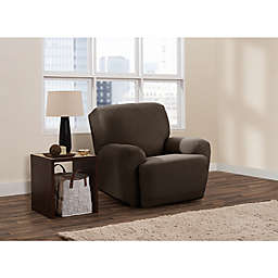 Zenna Home Stretch Suede 4-Piece Smart Fit Recliner Slipcover in Chocolate