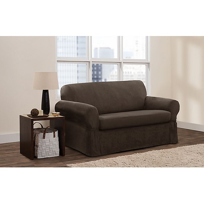 Alternate image 1 for Zenna Home Smart Fit Stretch Suede 2-Piece Loveseat Slipcover