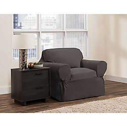 Zenna Home Portland Smart Fit Stretch Chair Slipcover in Charcoal