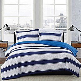 London Fog® Watkins Stripe Reversible Duvet Set in White/Blue