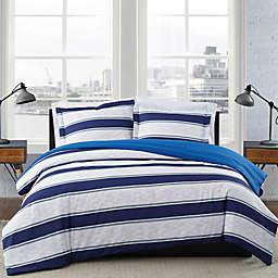 London Fog® Watkins Stripe Reversible Duvet Set in White/Blue