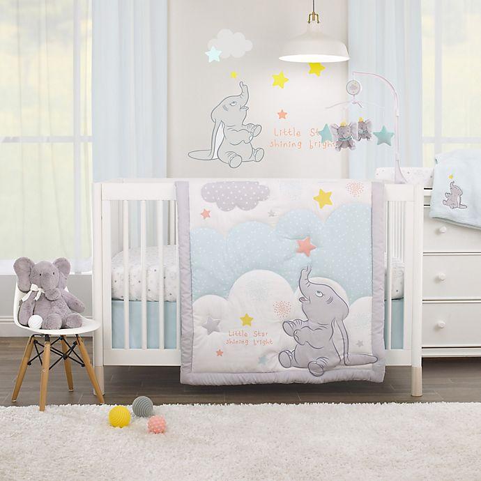 Alternate image 1 for Disney Baby® Dumbo Shine Bright Little Star 3-Piece Crib Bedding Set in Aqua/Grey