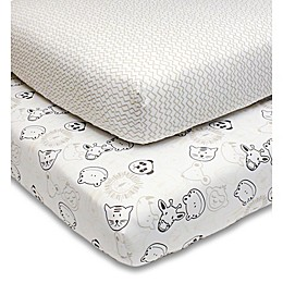 PS by the peanutshell™ Zoo Animal Fitted Crib Sheets in Grey (2-Pack)