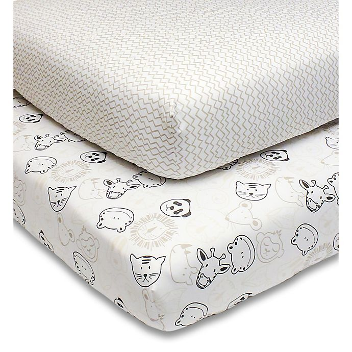 Alternate image 1 for PS by the peanutshell™ Zoo Animal Fitted Crib Sheets in Grey (2-Pack)