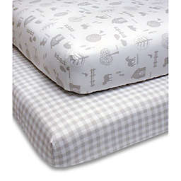 PS by the peanutshell™ Farm Check Fitted Crib Sheets in Grey (2-Pack)