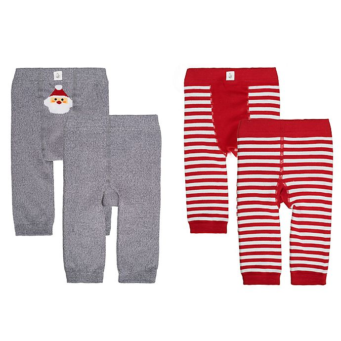 Alternate image 1 for Cuddl Duds® Size 0-6M 2-Pack Santa Knit Leggings in Fire Red