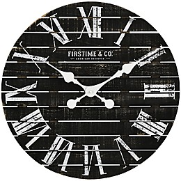FirsTime & Co.® Nightfall Shiplap 18-Inch Wall Clock in Black