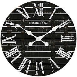 FirsTime & Co.® Nightfall Shiplap 18-Inch Wall Clock in Black