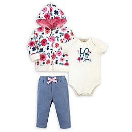 Touched by Nature® Floral Organic Cotton Hoodie, Bodysuit, and Pant Set