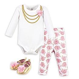Little Treasure 3-Piece Gold Roses Bodysuit, Pant and Shoe Set