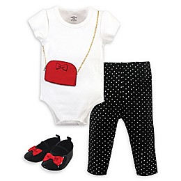Little Treasure® 3-Piece Purse Bodysuit, Pant and Shoe Set in White/Black