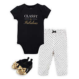 Little Treasure® 3-Piece Bodysuit, Pant, and Shoe Set in Black/White/Gold