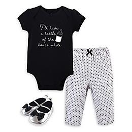 Little Treasure® 3-Piece Bottle Bodysuit, Pant, and Shoe Set in Black/White