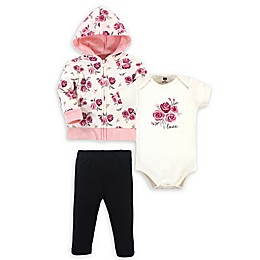 Hudson Baby® 3-Piece Rose Hoodie, Bodysuit, and Pant Set