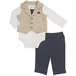 Clasix Beginnings™ by Minibasix® 3-Piece Bodysuit, Vest, and Pant Set in Tan