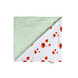 Malabar Baby Organic Cotton Reversible Muslin Snuggle Blanket in Poppy