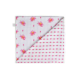 Malabar Baby Organic Cotton Reversible Muslin Snuggle Blanket in Lotus
