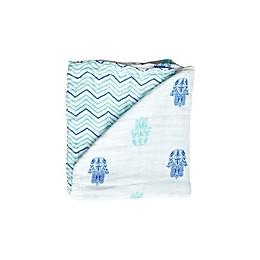 Malabar baby Hamsa Organic Cotton Blanket in Blue/White