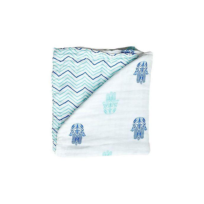 Alternate image 1 for Malabar baby Hamsa Organic Cotton Blanket in Blue/White