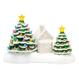 10-Inch Ceramic Holiday Tree Village Vignette in White