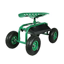 Sunnydaze Decor Rolling Garden Cart with 360 Degree Swivel Seat in Green