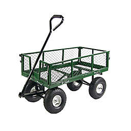 Sunnydaze Decor Utility Cart with Removable Folding Sides in Green
