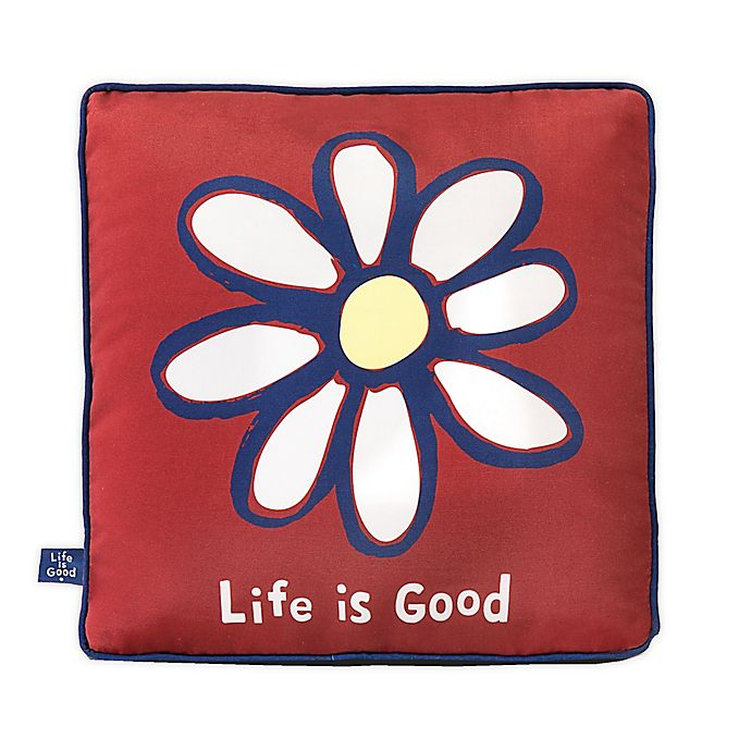 Alternate image 1 for Life is Good® Daisy Toss Pillow in Red