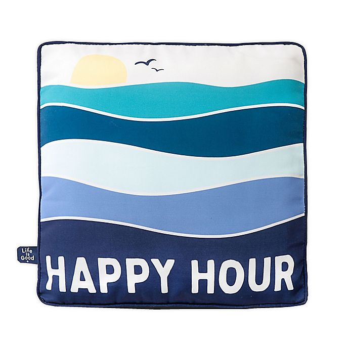 Alternate image 1 for Life is Good® Happy Hour Toss Pillow in Blue