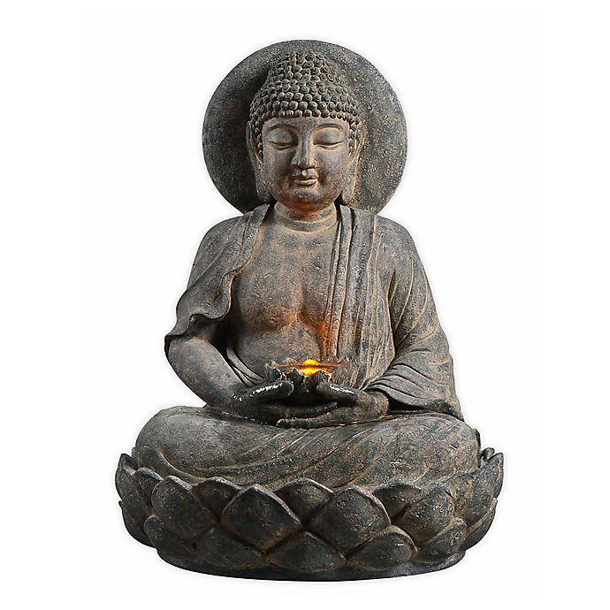 Alternate image 1 for Peaktop Outdoor Buddha Zen Fountain with LED Light