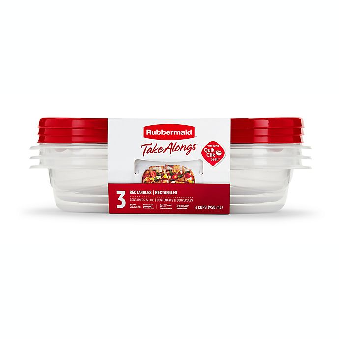 Alternate image 1 for Rubbermaid® TakeAlongs® 3-Count Rectangle Food Containers with Lids