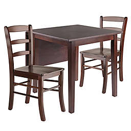 Perrone 3-Piece Dining Table Set with Drop Leaf Table and Ladder-Back Chairs in Walnut