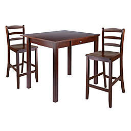 Perrone 3-Piece High Table Set with Ladder-Back Stools in Walnut