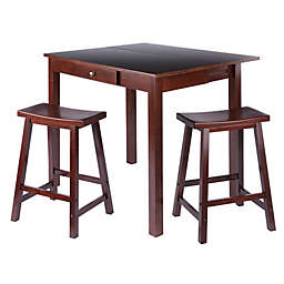 Perrone 3-Piece High Dining Table Set with Saddle-Seat Stools in Walnut