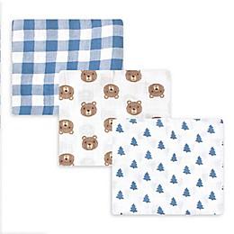 Hudson Baby® 3-Pack Bear Muslin Swaddle Blankets in Blue/Brown