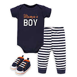 """Little Treasure® 3-Piece """"Mama's Boy"""" Bodysuit, Pant, and Shoe Set in Navy/White"""