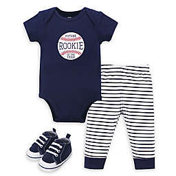 Hudson Baby® 3-Piece Rookie Bodysuit, Pant and Shoe Set in Navy/White