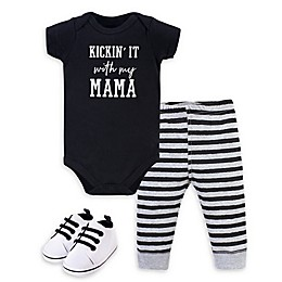 Little Treasure® 3-Piece Kickin' Bodysuit, Pant, and Shoe Set in Black/White
