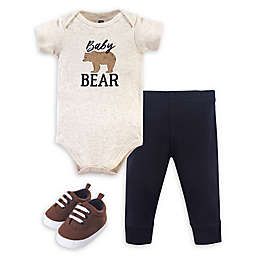 Hudson Baby® 3-Piece Bear Bodysuit, Pant, and Shoe Set in Brown/Blue