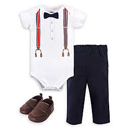 Little Treasure® 3-Piece Suspenders Bodysuit, Pant, and Shoe Set in White/Navy