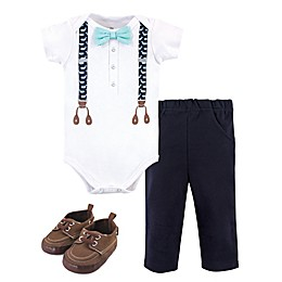 Little Treasure® 3-Piece Whale Suspenders Bodysuit, Pant, and Shoe Set in White/Navy