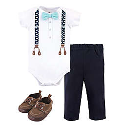 Little Treasure® Size 0-3M 3-Piece Whale Suspenders Bodysuit, Pant, and Shoe Set in White/Navy