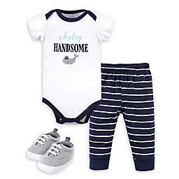 Little Treasure® 3-Piece Whaley Bodysuit, Pant, and Shoe Set in White/Navy