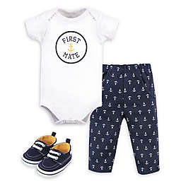 "Little Treasure® 3-Piece ""First Mate"" Bodysuit, Pant, and Shoe Set in White/Navy"