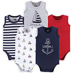 Hudson Baby® 5-Pack Captain Sleeveless Bodysuits in Red