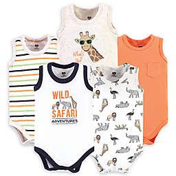 Hudson Baby® Size 9-12M 5-Pack Safari Sleeveless Bodysuits in White